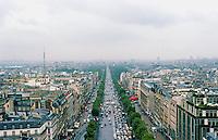 Paris: From the Arc--looking down the  Avenue des Champs-Élysées. Photo '87.