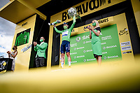 Green Jersey / points leader Mark Cavendish (GBR/Deceuninck - Quick Step) on the podium<br /> <br /> Stage 12 from Saint-Paul-Trois-Châteaux to Nîmes (159km)<br /> 108th Tour de France 2021 (2.UWT)<br /> <br /> ©kramon