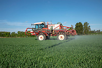 Spraying fungicide onto wheat - Lincolnshire, April