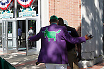 June 7, 2014: Race-goers, including some who came sporting the colors of California Chrome, are screened by security personnel as they enter Belmont Park on Belmont Stakes Day. Scene at Belmont Park on the morning of the Belmont Stakes, Elmont, NY ©Joan Fairman Kanes/ESW/CSM