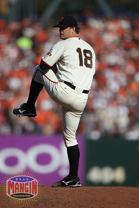SAN FRANCISCO - OCTOBER 19:  Matt Cain of the San Francisco Giants pitches against the Philadelphia Phillies during Game 3 of the NLCS at AT&T Park on October 19, 2010 in San Francisco, California. (Photo by Brad Mangin)