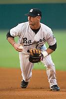 Birmingham Barons first baseman Mike Myers makes an unassisted putout versus the Jacksonville Suns at Hoover Metropolitan Stadium in Birmingham, AL, Saturday, August 19, 2006.