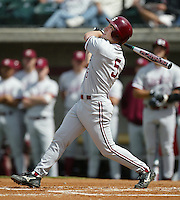 Sam Fuld of the Stanford Cardinal bats during a 2002 season NCAA game against the Southern California Trojans at Dedeaux Field in Los Angeles, California. (Larry Goren/Four Seam Images)