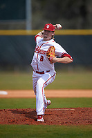 Indiana Hoosiers starting pitcher Evan Bell (8) delivers a pitch during a game against the Seton Hall Pirates on March 5, 2016 at North Charlotte Regional Park in Port Charlotte, Florida.  Seton Hall defeated Indiana 6-4.  (Mike Janes/Four Seam Images)