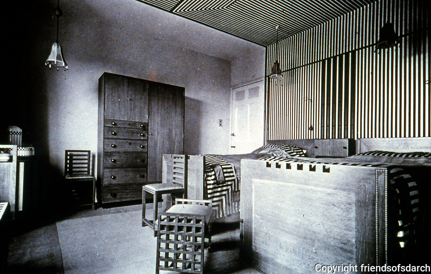 Mackintosh Collection: Hunterian Gallery, U. of Glasgow. 78 Derngate Guest Bedroom Photo, c. 1919.