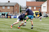 Matt Eliet of London Scottish practices tackles during the Greene King IPA Championship match between Ealing Trailfinders and London Scottish Football Club at Castle Bar , West Ealing , England  on 19 January 2019. Photo by Carlton Myrie/PRiME Media Images