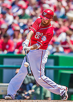 31 May 2014: Washington Nationals first baseman Adam LaRoche connects against the Texas Rangers at Nationals Park in Washington, DC. The Nationals defeated the Rangers 10-2, notching a second win of their 3-game inter-league series. Mandatory Credit: Ed Wolfstein Photo *** RAW (NEF) Image File Available ***