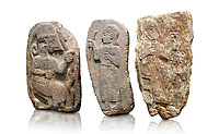 Hittite monumental relief sculptures, 900 - 700 BC, from Adana Archaeology Museum, Turkey. Against a white background