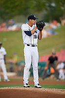 Kane County Cougars starting pitcher Brian Shaffer (18) looks in for the sign during a game against the South Bend Cubs on July 23, 2018 at Northwestern Medicine Field in Geneva, Illinois.  Kane County defeated South Bend 8-5.  (Mike Janes/Four Seam Images)