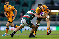 21st May 2021; Twickenham, London, England; European Rugby Challenge Cup Final, Leicester Tigers versus Montpellier; Ellis Genge of Leicester Tigers tackles Florian Verhaeghe of Montpellier Rugby