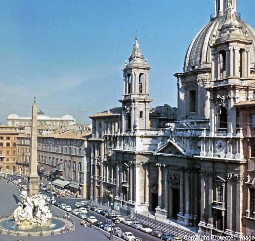 Sant'Agnese in Piazza Navona, a 17th-century Baroque church in Rome, Italy. Faces onto the Piazza Navona, one of the main urban spaces in the historic centre of the city. Architect Francesco Borromini.