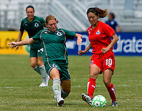 Washington Freedom midfielder Homare Sawa (10) and St. Louis Athletica midfielder Lori Chalupny (17) during a WPS match at Anheuser-Busch Soccer Park, in Fenton, MO, June 20 2009. Washington  won the match 1-0.