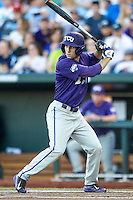 TCU Horned Frogs first baseman Jeremie Fagnan (32) at bat against the Vanderbilt Commodores in Game 12 of the NCAA College World Series on June 19, 2015 at TD Ameritrade Park in Omaha, Nebraska. The Commodores defeated TCU 7-1. (Andrew Woolley/Four Seam Images)