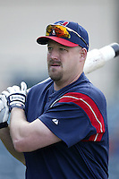 Lee Stevens of the Cleveland Indians before a 2002 MLB season game against the Los Angeles Angels at Angel Stadium, in Los Angeles, California. (Larry Goren/Four Seam Images)