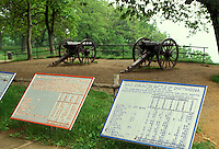 AJ2666, cannons, Chickamauga and Chattanooga National Military Park, Lookout Mountain, Parrot rifles are displayed at Point Park on Lookout Mountain at Chickamauga and Chattanooga National Military Park in the state of Tennessee.