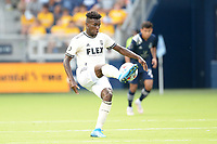 KANSAS CITY, KS - JUNE 26: Jose Cifuentes #11 Los Angeles FC with the ball during a game between Los Angeles FC and Sporting Kansas City at Children's Mercy Park on June 26, 2021 in Kansas City, Kansas.