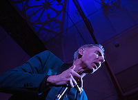 17 DEC 2014 - STOWMARKET, GBR - Dr Feelgood vocalist Robert Kane during a gig at the John Peel Centre for Creative Arts in Stowmarket, Suffolk, Great Britain (PHOTO COPYRIGHT © 2014 NIGEL FARROW, ALL RIGHTS RESERVED)