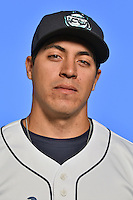 Asheville Tourists catcher Christopher Rabago (22) poses for a photo at Story Point Media on April 5, 2016 in Asheville, North Carolina. (Tony Farlow/Four Seam Images)
