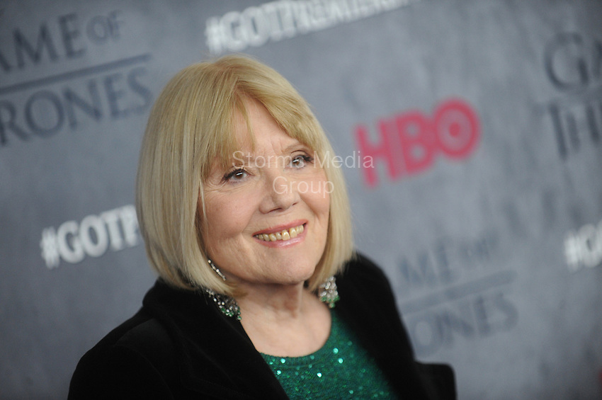 NEW YORK, NY - MARCH 18: Diana Rigg attends the 'Game Of Thrones' Season 4 New York premiere at Avery Fisher Hall, Lincoln Center on March 18, 2014 in New York City<br /> <br /> <br /> People:  Diana Rigg