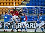 St Johnstone Academy v Manchester United Academy....17.04.15   <br /> Trialist keeper Ben McKenzie punches clear<br /> Picture by Graeme Hart.<br /> Copyright Perthshire Picture Agency<br /> Tel: 01738 623350  Mobile: 07990 594431