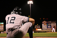 September 4, 2009:  Cody Ransom of the Scranton Wilkes-Barre Yankees waiting for his turn at bat during a game at Frontier Field in Rochester, NY.  Scranton is the Triple-A International League affiliate of the New York Yankees and clinched the North Division Title with a victory over Rochester.  Photo By Mike Janes/Four Seam Images
