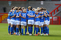 Brighton team huddle during Brighton & Hove Albion Women vs Arsenal Women, Barclays FA Women's Super League Football at Broadfield Stadium on 11th October 2020
