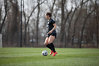 LOUISVILLE, KY - MARCH 13: Grace Bahr #32 of Racing Louisville FC looks to teammates during a game between West Virginia University and Racing Louisville FC at Thurman Hutchins Park on March 13, 2021 in Louisville, Kentucky.