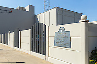 A historical marker marks the site of a former slave market in Mobile, Alabama.