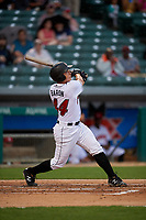 Indianapolis Indians Steven Baron (44) at bat during an International League game against the Syracuse Mets on July 16, 2019 at Victory Field in Indianapolis, Indiana.  Syracuse defeated Indianapolis 5-2  (Mike Janes/Four Seam Images)