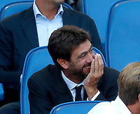 Calcio, Serie A: Lazio vs Juventus. Roma, stadio Olimpico, 27 agosto 2016.<br /> Juventus president Andrea Agnelli smiles on the stand on the occasion of the Serie A soccer match between Lazio and Juventus, at Rome's Olympic stadium, 27 August 2016. Juventus won 1-0.<br /> UPDATE IMAGES PRESS/Isabella Bonotto