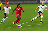 ORLANDO CITY, FL - FEBRUARY 18: Nichelle Prince #15 dribbles towards goal and away from pressure during a game between Canada and USWNT at Exploria stadium on February 18, 2021 in Orlando City, Florida.