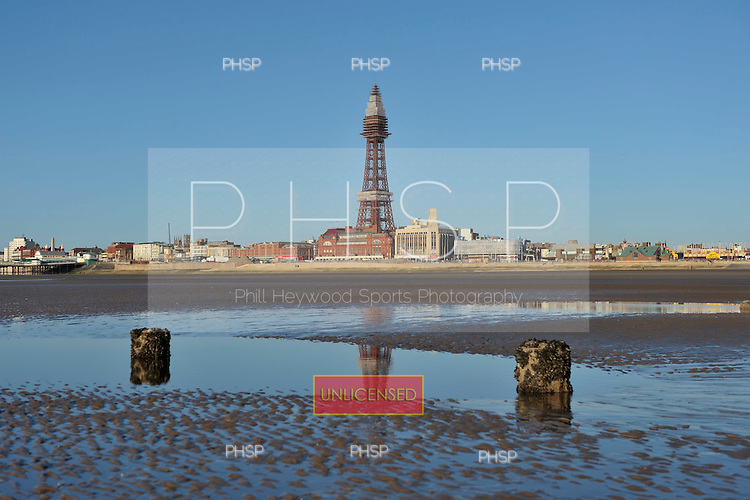 18/03/2011 Rarely exposed jetty supports beyond Central Pier jut out at low tide, Blackpool Lancashire UK......© Phill Heywood.