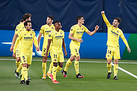 29th April 2021; Ceramica Stadium, Villareal, Spain; EUropa League semi-final football, Villareal CF versus Arsenal;  Villarreal CF players and Manu Triguerof Villarreal CF celebrate their goal during the UEFA Europa League match