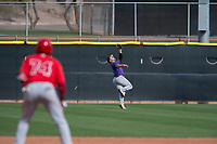 Colorado Rockies center fielder Cole Anderson (28) during a Minor League Spring Training game against the Los Angeles Angels at Tempe Diablo Stadium Complex on March 18, 2018 in Tempe, Arizona. (Zachary Lucy/Four Seam Images)