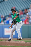 Norfolk Tides relief pitcher Francisco Jimenez (26) during an International League game against the Buffalo Bisons on June 22, 2019 at Sahlen Field in Buffalo, New York.  Buffalo defeated Norfolk 3-0.  (Mike Janes/Four Seam Images)