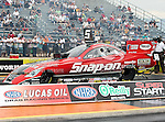 Cruz Pedregon #71, driver for Snap-On's Funny Car makes a qualifying run at the O'Reilly Fall Nationals held at the Texas Motorplex in  Ennis, Texas.