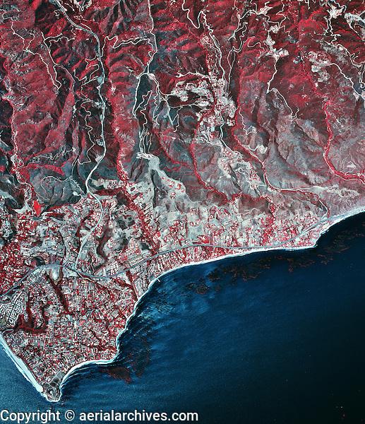 historical infrared aerial photograph of Malibu, California, 2002