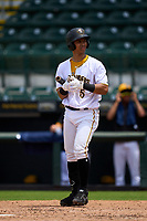 Bradenton Marauders Endy Rodriguez (5) bats during a game against the Palm Beach Cardinals on May 30, 2021 at LECOM Park in Bradenton, Florida.  (Mike Janes/Four Seam Images)