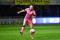 Delphine Preaux (4 Charleroi) pictured during a female soccer game between  AA Gent Ladies and Sporting Charleroi Feminin on the fifth matchday of the 2020 - 2021 season of Belgian Scooore Womens Super League , friday 16 th of October 2020  in Oostakker , Belgium . PHOTO SPORTPIX.BE | SPP | DAVID CATRY