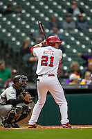 Nebraska Cornhuskers outfielder Ryan Boldt (21) at bat during the NCAA baseball game against the Hawaii Rainbow Warriors on March 7, 2015 at the Houston College Classic held at Minute Maid Park in Houston, Texas. Nebraska defeated Hawaii 4-3. (Andrew Woolley/Four Seam Images)