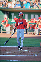 Rayneldy Rosario (12) of the Orem Owlz bats against the Ogden Raptors at Lindquist Field on June 19, 2018 in Ogden, Utah. The Raptors defeated the Owlz 7-2. (Stephen Smith/Four Seam Images)