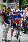 French National Champion Sylvain Chavanel (FRA) waits to start the Prologue of the 99th edition of the Tour de France 2012, a 6.4km individual time trial starting in Parc d'Avroy, Liege, Belgium. 30th June 2012.<br /> (Photo by Eoin Clarke/NEWSFILE)