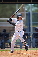 GCL Yankees West center fielder Antonio Cabello (25) at bat during a game against the GCL Yankees East on August 8, 2018 at Yankee Complex in Tampa, Florida.  GCL Yankees West defeated GCL Yankees East 8-4.  (Mike Janes/Four Seam Images)