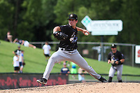 Quad Cities River Bandits pitcher Dante Biasi (14) delivers a pitch during a game against the Wisconsin Timber Rattlers on July 11, 2021 at Neuroscience Group Field at Fox Cities Stadium in Grand Chute, Wisconsin.  (Brad Krause/Four Seam Images)
