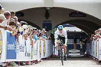 Luke Durbridge (AUS/Orica-GreenEDGE) off the start ramp at Kings Dominion<br /> <br /> Elite Men TT<br /> UCI Road World Championships / Richmond 2015