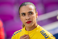 ORLANDO CITY, FL - FEBRUARY 21: Marta #10 of Brazil walks out of the tunnel before a game between Brazil and USWNT at Exploria Stadium on February 21, 2021 in Orlando City, Florida.