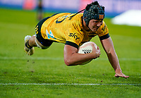 30th April 2021; Wellington, New Zealand;  Hurricanes Brayden Iose goes over to score his try.  Hurricanes versus  Highlanders, Super Rugby, Sky Stadium, Wellington New Zealand, Friday 30 April 2021.