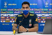 10th November 2020; Granja Comary, Teresopolis, Rio de Janeiro, Brazil; Qatar 2022 qualifiers; Allan of Brazil during press conference in Granja Comary