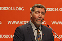 Chris Beyrer speaks at a press conference prior to the opening session of the 20th International AIDS Conference (AIDS 2014) at the Melbourne Convention and Exhibition Centre.<br /> For licensing of this image please go to http://demotix.com
