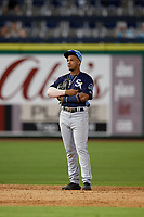 Charlotte Stone Crabs shortstop Wander Franco (4) during a Florida State League game against the Clearwater Beach Dogs on July 26, 2019 at Spectrum Field in Clearwater, Florida.  Clearwater defeated Charlotte 6-5.  (Mike Janes/Four Seam Images)